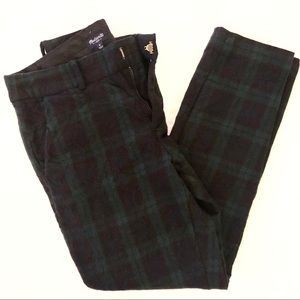 Madewell Green Plaid Wool Pants Sz 0 XS